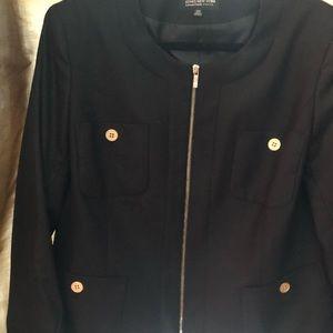 Black suit jacket. Very comfortable. Sharp looking